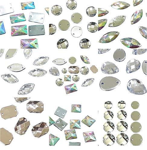 Perlin 100 strass da cucire, 2 fori, bottoni in cristallo acrilico, cristalli e AB, retro piatto, set di forme miste, sfaccettate