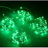 Abkshine 4-Pack 50 Led Green St Patrick's Day String Lights, Battery Operated Portable Green LED Lights for St.Patricks Day Decoration Irish Party Decor(Set of 4, Green Light)