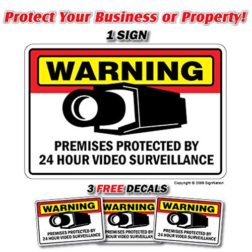 """Security Surveillance Signs 1 Sign & 3 Free Decal Video 24 Hour Protection Label Decal Sticker Retail Store Sign Sticks to Any Surface 8"""""""