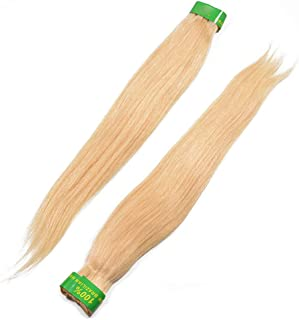 Lady Long Straight Hair Real Hair Weaving Seamless Hair Extension Can Be Dyed DIY Fun (Color : Photo Color, Size : 14 inch)