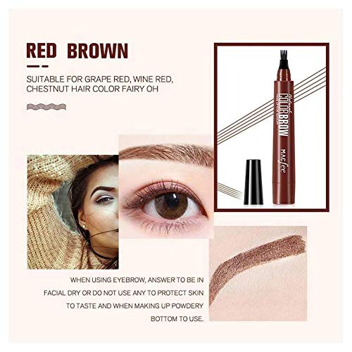 1 / 2Pcs 4 Points Stylo À Sourcils, Maquillage Microblading Quatre Fourche Pointe Crayon À Sourcils Étanche Fine Croquis Eye Brow Enhancer Maquillage Tatouage Stylo (1PC, 04# brun rouge)