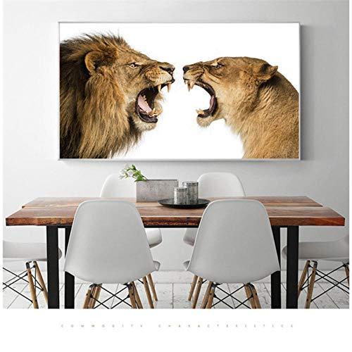 SHUTIAOQUN Koning der Leeuwen De slapende Zigeuner canvas schilderij Samenvatting Leeuwenkop Home Decoratin Maison muurschilderingen voor woonkamer Cuadros 60 * 90 cm zonder lijst
