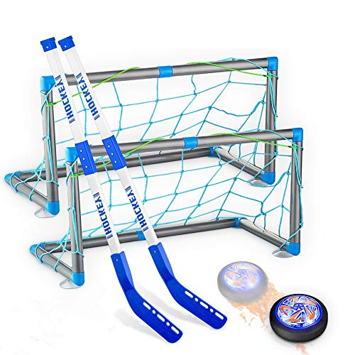 Hockey Gifts for Boys, Rechargeable Hockey Hover Set with 2 Goals Boys Toys Air Floating Hockey with LED Light Indoor or Outdoor Sport Ball Games for Boys Girls Toddlers for 3-12 Year Old Kids