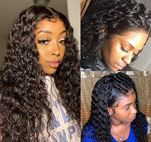 Perstar Glueless Lace Front Wigs Human Hair With Baby Hair Water Wave Unprocessed 100% Human Hair Wigs For Black Women Pre Plucked Curly Lace Front Wigs 18 Inch Natural Black Hair Wig