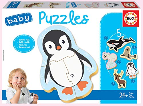 Educa - Baby Puzzles Animales Polares. Set de 5 Puzzles Infantiles Progresivos de 3 a 5 piezas. A partir de 24 meses. Ref. 18588