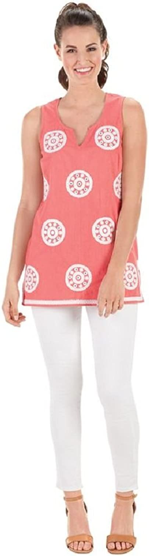 Mud Pie Gigi Embroided Tunic Sherbert Fizz Small Cotton Individual Sizes Sleeveless Apparel Dress Pink
