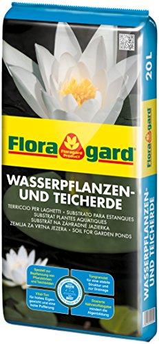 Floragard Wasserpflanzen- & Teicherde 20 L für Gartenteiche, Pflanzkörbe, Teichböden • auch für Seerosen und Schilf • extra schwer dank Vital-Ton • verringert Algenbildung