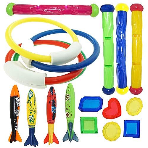 Baby Bad Spielzeug, 18 Stück/Set Tauchspielzeug Sommer Swmming Pool Unterwasser Spaß Schwimmspielzeug für Kleinkinder Kinder Jungen Mädchen