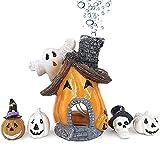 Ginfonr Adornos para Acuario Casa Embrujada De Calabaza De Halloween, Adorno para Acuario Halloween Diseño con Calabazas Y Casas Embrujadas, Resina, Acuarios Puente Decorativo Accesorios