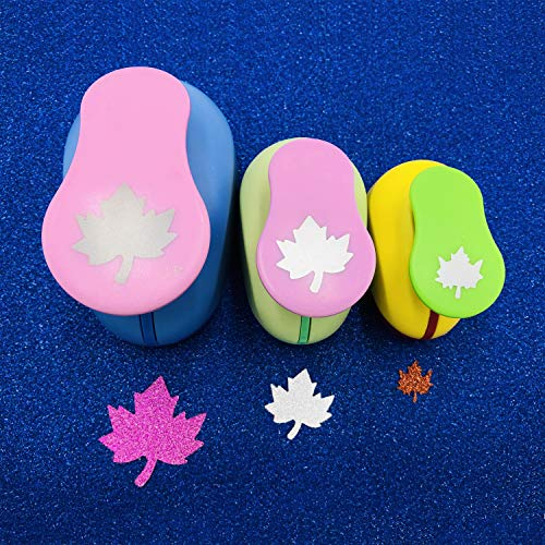 Worldoor Set of 3PCS Maple Leaf (5/8 inch+1 inch+1.5 inch) Craft Punch Set Maple Leaf Paper Punch Punch Craft Scrapbooking Eva Punches