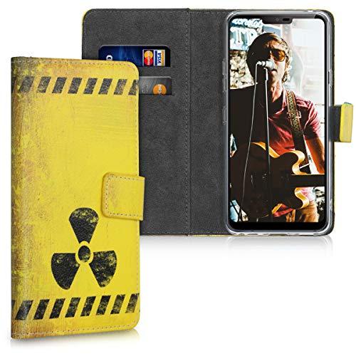 kwmobile Hülle kompatibel mit LG G7 ThinQ/Fit/One - Kunstleder Wallet Hülle mit Kartenfächern Stand Radioaktivität Schwarz Gelb
