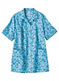 AmeriMark Women's Button Front Smock – Casual Button-Down Shirt w/Patch Pockets Patriotic XL