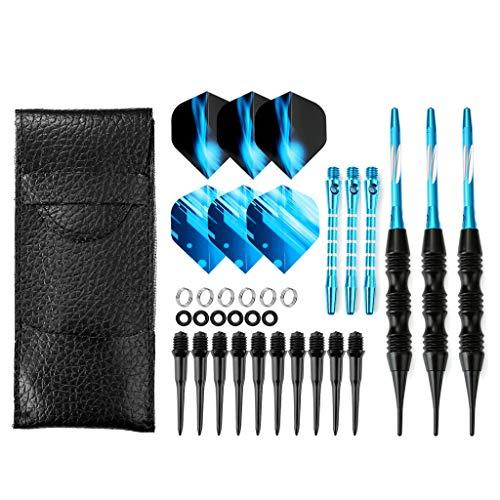 Crazy-m Dartpfeile Soft blau dartpfeile 3 Stück 20 g Dartset Turnier Soft Tip Dartpfeile Set, Schwarz Beschichtete Metallfässer Darts (Soft Dartpfeile) mit Flights