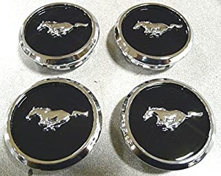 OEM Factory Stock 2005 2006 2007 2008 2009 2010 2011 2012 2013 2014 Ford Mustang Black Ebony Chrome Wheel Rim Center Caps Pony Horse Logo Set 4