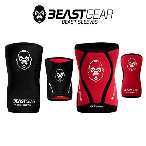 Beast Gear Beast Sleeves - Premium 5mm Neopren Kompression Knie-Bandagen für mehr Unterstützung & Schutz der Knie. Kraftsport, Gewichtheben, Crossfit, Powerlifting, Kniebeugen, Laufen und mehr (Lrg)