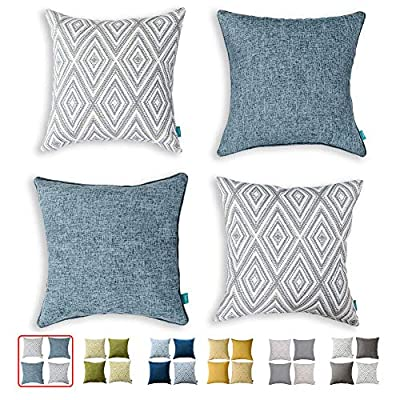 """HPUK Set of 4 Decorative Throw Pillow Covers Geometric Design Cushion Pillowcases for Couch Sofa Bed Car, 17""""x17"""", Blue"""