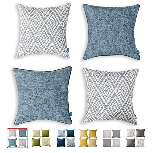 HPUK Set of 4 Decorative Throw Pillow Covers Geometric Design Cushion Pillowcases for Couch Sofa Bed Car, 17'x17', Blue