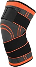 2 PCS Professional Unisex Sports Knee Protective Pads Strap Pressure-Relieve Anti-Slip Nylon Knit Basketball Knee Brace,Orange,L