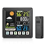 Weather Stations, GBlife Indoor Outdoor Thermometer, Temperature and Humidity Monitor with Remote Sensor