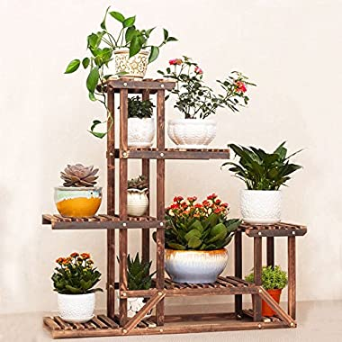 UNHO Wooden Flower Stands Plant Stand Six-tiered Planter Display Indoor Outdoor Rack for Yard Decor Sturdy Construction