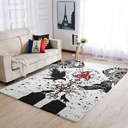 YOUYO Spark Alfombra Vikings Tattoo Muninn Crow Ravens Wolf antideslizante - Conveniente alfombra de piso para puertas exteriores blancas 91 x 152 cm