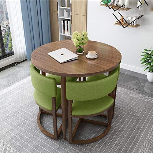 LJJOO Möbel 5-teiliges Outdoor-Esstisch und -stühle, Modern Rundtisch Stoff Stuhl Couchtisch Sofa Sitz Bürolounge...