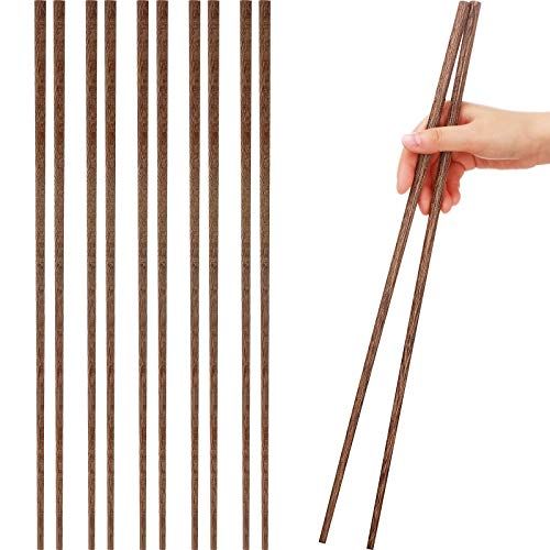Long Cooking Chopstick Chinese Natural Wooden Chopstick Long Hot Pot Chopstick Wooden Frying Chopstick for Hot Pot, Frying, Noodle, Cooking Favor, 16.5 Inch (5, Wenge Wood)