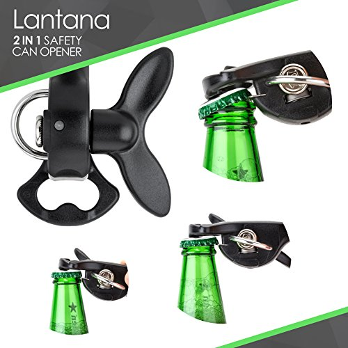 Lantana 2 in 1 Safety/Smooth Edge Tin Can Opener & Bottle Opener - Black/Stainless Steel