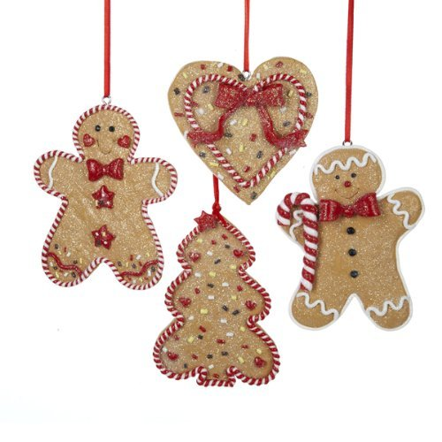 Christmas Ornaments Set, Gingerbread Ornament (4 Designs, 4 Pack)