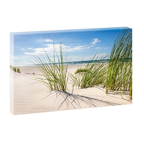 Querfarben Bild auf Leinwand mit Landschaftsmotiv Sandstrand | 120 x 80 cm, Farbig, Wandbild, Leinwandbild mit Kunstdruck, Nordseebild mit Strandmotiv auf Holzrahmen gespannt, 80x120 cm