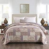 WOLTU BD16m04 Couverture de lit Couvre-lit 240x260 cm matelassée pour lit jeté de lit Double Motif Patchwork