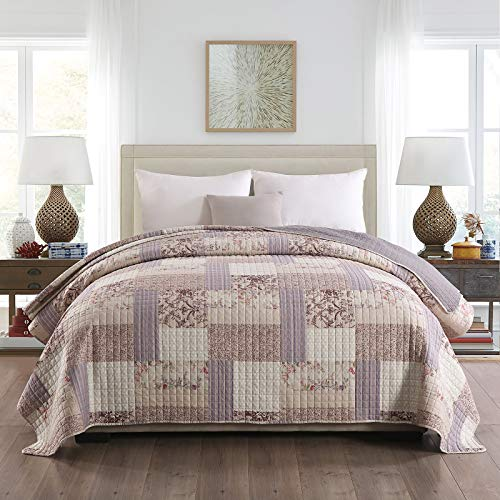 WOLTU® BD16m03, Tagesdecke Bettüberwurf Steppdecke Patchwork Wendedesign Bettdecke Stepp Decke Doppelbett unterfüttert und gesteppt, 220x240 cm