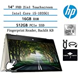 "2020 HP Pavillion x360 2in1 14"" FHD Touchscreen Newest Flagship Laptop, Intel Quad-Core i5-1035G1(Beat i7-8565U), 16GB RAM, 512GB PCIe SSD, FP-Reader, Backlit-KB, Fast Charge, Win10,w/GM Accessories"