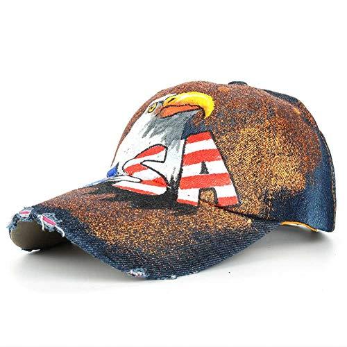 Shaoqingren Hawk USA Flagge Malerei Jean Baseball Cap Einstellbar Hip Hop Cap Freizeit Casual Snapback Hut B477N05