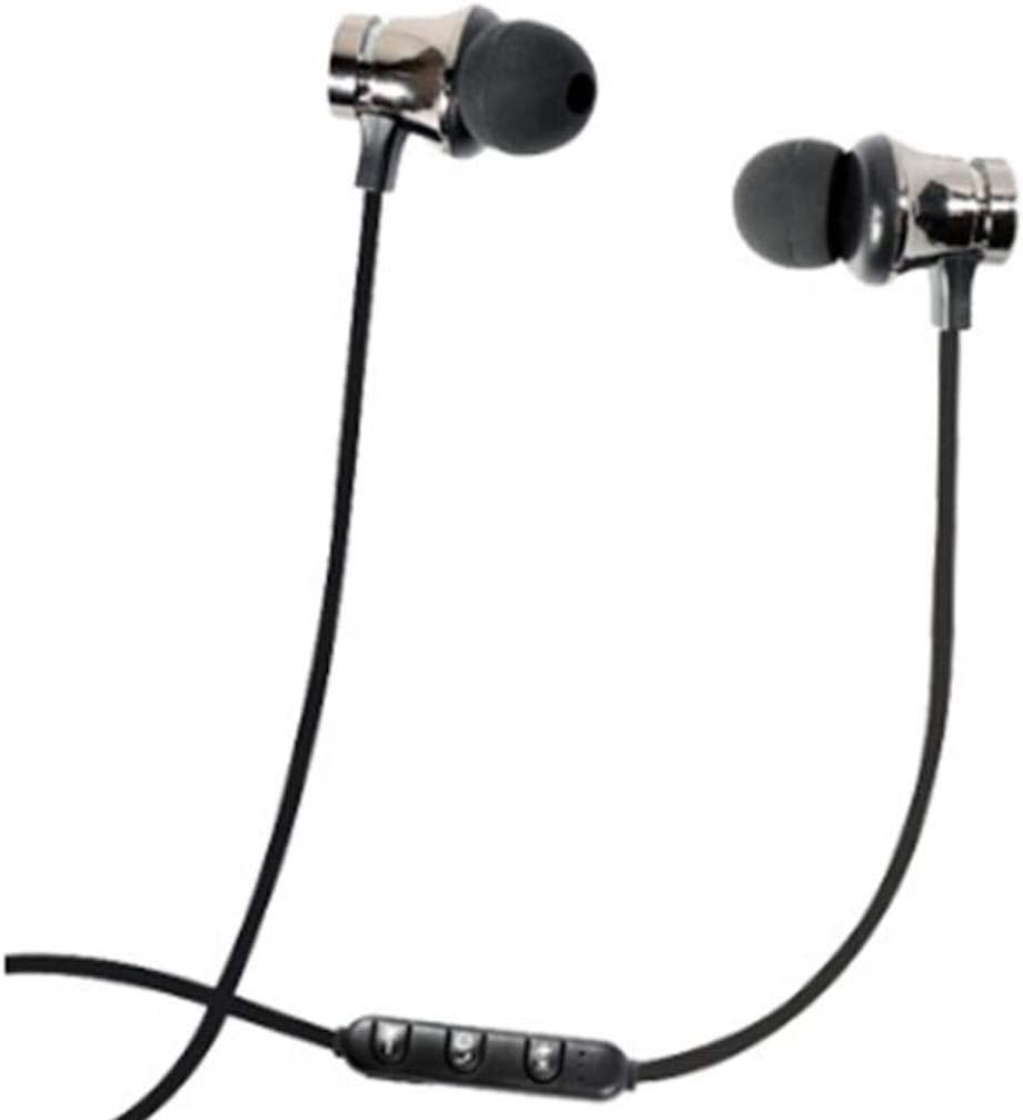 Bluetooth 4.2 Headphones Sport Magnet Stereo Earphones Headset mic Rechargeable (Black)