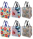 Earthwise Reusable Grocery Shopping Bags Extremely Durable Multi Use Large Stylish Fun Foldable Water-Resistant Totes Design (Pack of 6) (Flowers)