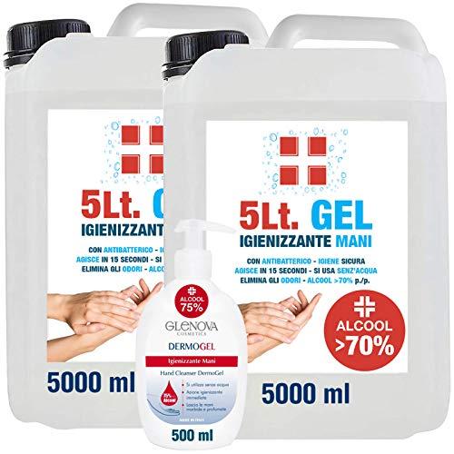 2 Taniche Gel per Mani da 5 Litri Alcool 70% con 500ml Dispenser 75% GLENOVA Igienizzante Antibatterico Sanificante Dosatore Alcolico Azione Rapida Contro Germi e Batteri