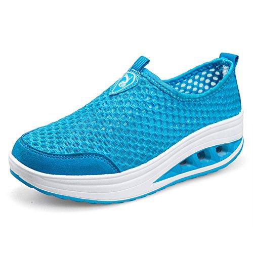 ailishabroy Zapatillas de Running de Competición Mujer Resbalón en Mocasines Huecos Florales de la Plataforma de la Cuña (37, Azul)