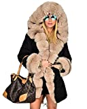 Aofur Womens Button Military Parka Anorak Jacket Hoodies Winter Long Fur Lining Coats Jackets Overcoat Outwear (X-Large, Black)