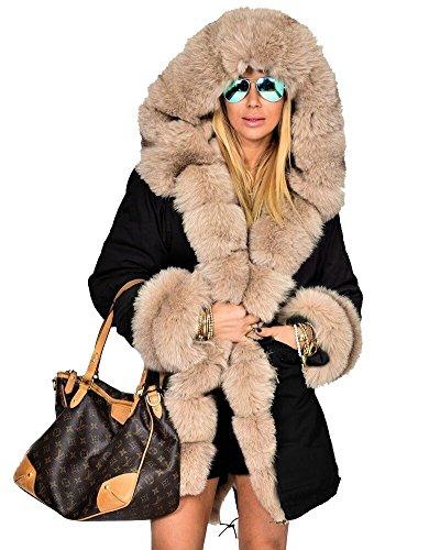 Roiii Damen Verdicken Warme WinterMantel Winterjacke Parka Lange Jacke Outwear Größe 36-50 (S,Beige Schwarz)