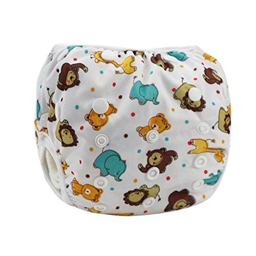 Happy Cherry Ajustable Bañador Pañal de Tela Reutilizable Lavable Diaper Para Bebé Unisex - Animales