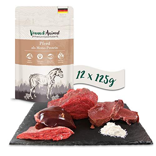 Venandi Animal Premium Nassfutter für Katzen, Pferd als Monoprotein, 12 x 125 g, getreidefrei und naturbelassen, 1.5 kg