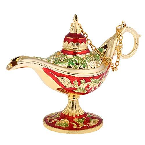 WANZSC Vintage Metal tallado magia Genie Bling lámpara de aceite árabe lámpara de luz caja de joyería para almacenamiento de muchos joyería de las mujeres (B)