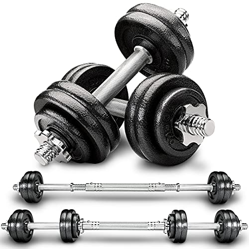 RE:SPORT 2 in 1 Hanteln Set 15 kg | Hantelset Gusseisen verstellbar | Kurzhantel & Langhantel | Sternverschlüsse & Verbindungsrohr
