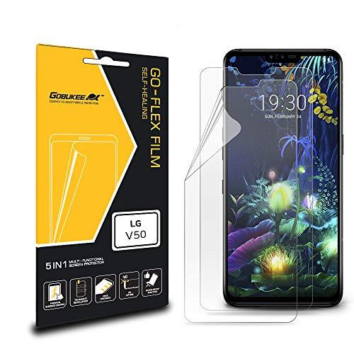 GOBUKEE Bildschirmschutzfolie für LG V50 ThinQ/LG V40 ThinQ, müheloszu installieren, stoßfeste GO-Flex, flexible TPU-Folie für LG V50 ThinQ/LG V40 ThinQ [kein gehärtetes Glas]