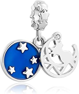 Q&Locket I Love You to The Moon and Back Charm Star Cat Charms Beads for Bracelets