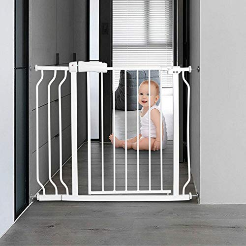 ALLAIBB Walk Through Baby Gate Auto Close Tension White Metal Child Pet Safety Gates with Pressure Mount for Stairs,Doorways and Baniste 38.6-43.3 in