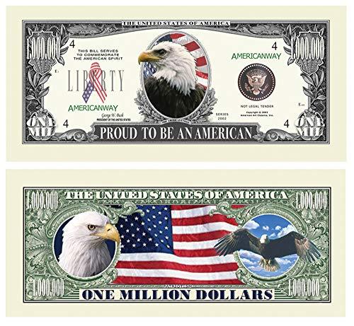 American Eagle 'Pride' Million Dollar Bill With Bill Protector - Novelty Money