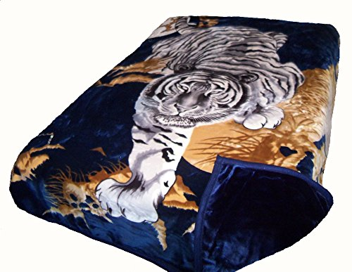SOLARON Two-Ply Crouching Tiger Mink Blanket (Navy Blue)