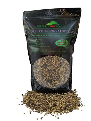Conifer Bonsai Soil Mix - Professional Sifted and Ready to Use Tree Potting Blend in Easy Zip Bag - Kiryu, Akadama, Black Lava, Pumice & Charcoal (2.5 Dry Quart)